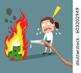 fail businesswoman fighting... | Shutterstock .eps vector #603202949