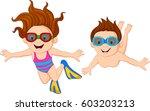 cartoon kids swimming underwater | Shutterstock . vector #603203213
