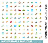 100 transport and road icons... | Shutterstock .eps vector #603210158