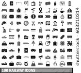 100 railway icons set in simple ... | Shutterstock .eps vector #603210314