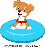 cartoon dog with inflatable ring | Shutterstock .eps vector #603213134