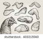 hand drawn cuts  chicken meat.... | Shutterstock .eps vector #603215060
