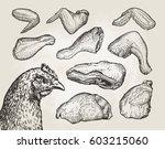 hand drawn cuts  chicken meat.... | Shutterstock .eps vector #603215060
