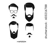 set of hipster man haircuts ... | Shutterstock .eps vector #603216788