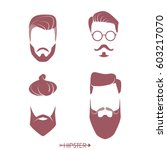 set of hipster man haircuts ... | Shutterstock .eps vector #603217070