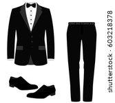 wedding men's suit with shoes ... | Shutterstock .eps vector #603218378