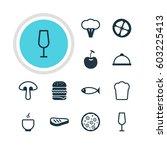 vector illustration of 12 meal... | Shutterstock .eps vector #603225413