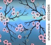 seamless background with sakura ... | Shutterstock . vector #603226004