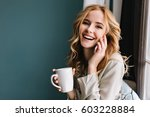 young woman talking phone and... | Shutterstock . vector #603228884