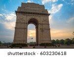 india gate delhi at sunrise...   Shutterstock . vector #603230618