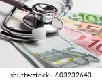 european currency with doctor... | Shutterstock . vector #603232643