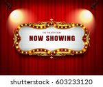 theater sign on curtain | Shutterstock .eps vector #603233120