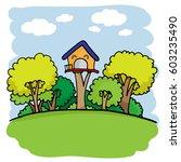 cute home and garden cartoon...   Shutterstock .eps vector #603235490