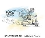 delivery boy ride scooter... | Shutterstock .eps vector #603237173