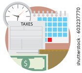 time pay tax icon. wallet and... | Shutterstock .eps vector #603237770