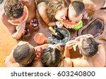 top view of multiracial friend... | Shutterstock . vector #603240800