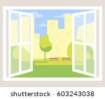 city view window background.... | Shutterstock .eps vector #603243038