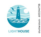 lighthouse icon design with... | Shutterstock .eps vector #603246758