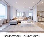modern white gray living room... | Shutterstock . vector #603249098