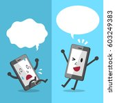 cartoon smartphone expressing... | Shutterstock .eps vector #603249383