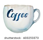large ceramic cup with...   Shutterstock . vector #603253373