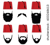 man head with fez set... | Shutterstock .eps vector #603268613