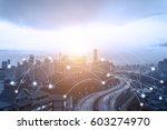 blue tone kuala lumpur... | Shutterstock . vector #603274970