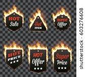 set of six horizontal hot sale... | Shutterstock .eps vector #603276608