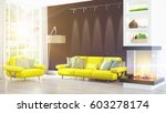 modern bright interior . 3d... | Shutterstock . vector #603278174