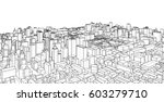 city  sketch  3d illustration | Shutterstock . vector #603279710