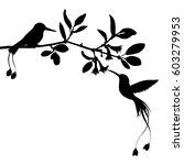hummingbirds and flowers...   Shutterstock .eps vector #603279953