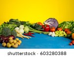 organic vegetables concept ... | Shutterstock . vector #603280388