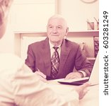 smiling man manager talking...   Shutterstock . vector #603281249