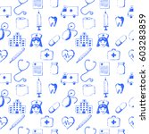 seamless pattern medical items. ... | Shutterstock . vector #603283859
