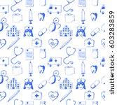 seamless pattern medical items. ... | Shutterstock . vector #603283859
