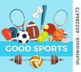 set of sport balls and gaming... | Shutterstock .eps vector #603286673