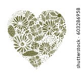 green floral lace like heart... | Shutterstock .eps vector #603286958