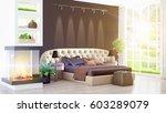 modern bright interior . 3d...   Shutterstock . vector #603289079