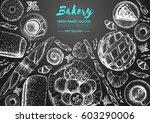 bakery top view frame. hand... | Shutterstock .eps vector #603290006