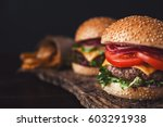two mouth watering  delicious... | Shutterstock . vector #603291938