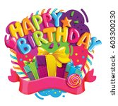 happy birthday color... | Shutterstock . vector #603300230