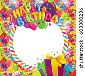 happy birthday color photo frame | Shutterstock . vector #603300236