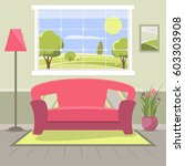 living room flat illustration... | Shutterstock .eps vector #603303908