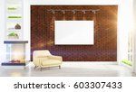 modern bright interior with... | Shutterstock . vector #603307433