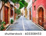 charming streets of old town in ... | Shutterstock . vector #603308453