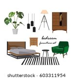 bedroom furniture set. interior ... | Shutterstock .eps vector #603311954