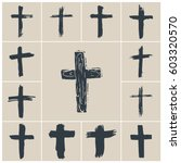 grunge hand drawn cross symbols ... | Shutterstock .eps vector #603320570