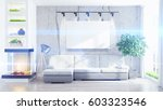 modern bright interior with... | Shutterstock . vector #603323546