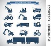 heavy duty machines icons set