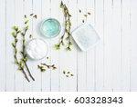 white moisturizer and blue... | Shutterstock . vector #603328343